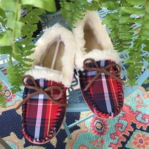 J. CREW Plaid Shearling Moccasin Slippers - NWT